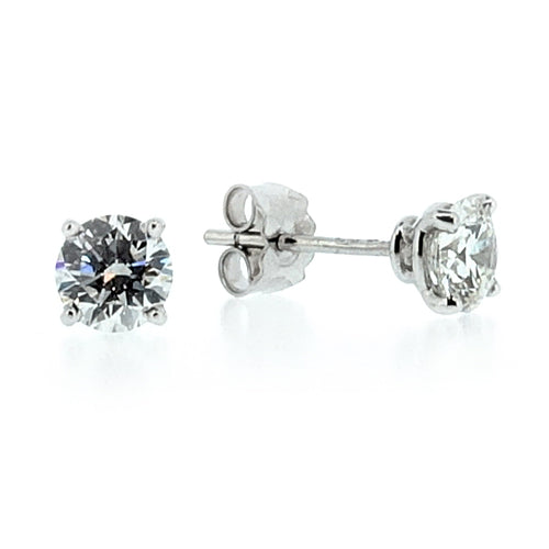Brilliant cut diamond solitaire earrings in 18ct white gold, 1.27ct