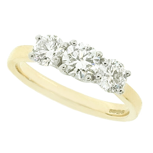 Brilliant cut diamond three stone ring in 18ct gold and platinum, 1.00ct
