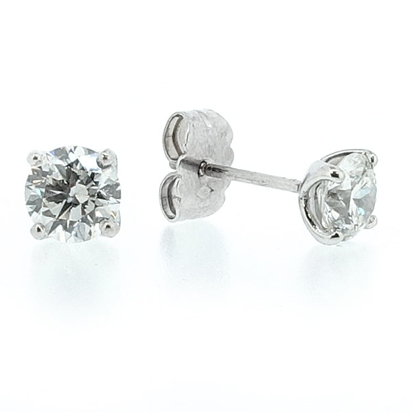Brilliant cut diamond solitaire earrings in 18ct white gold, 1.60ct