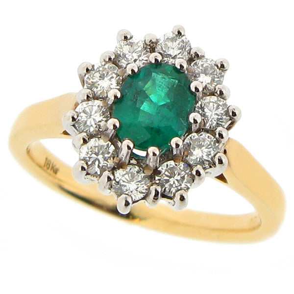 Ring - Emerald and diamond cluster ring in 18ct gold  - PA Jewellery