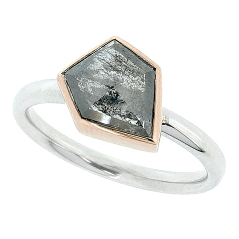 Rose-cut diamond solitaire ring in 18ct white and rose gold, 0.94ct