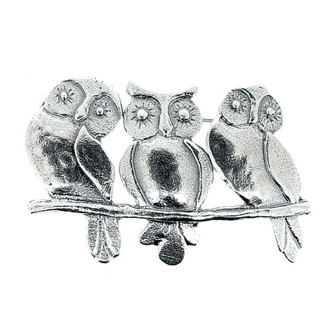 Owl trio brooch in silver