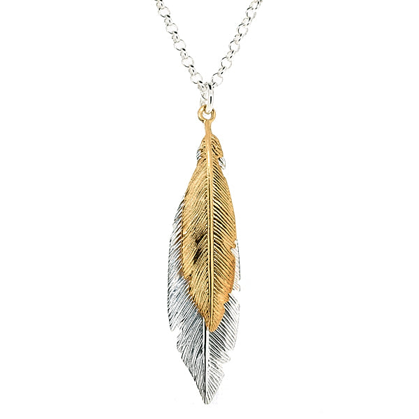 Feathers pendant and chain in silver with gold plating
