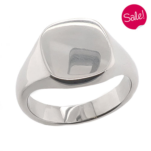 Cushion shape plain signet ring in palladium
