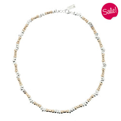 Hammered effect bead necklace in silver with gold plating