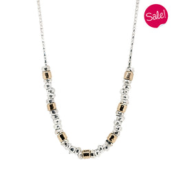 Hammered finish bead necklace in silver with gold plating