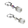White and crystal cube earrings - 4322/20-1400
