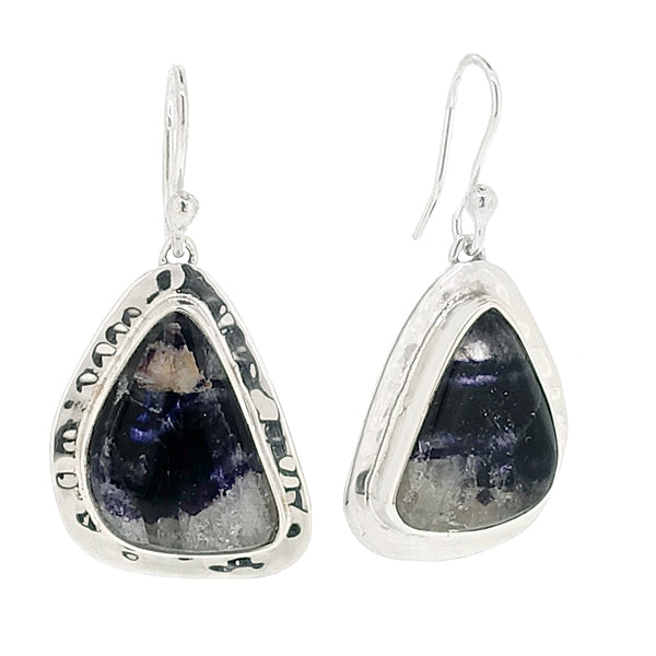 Blue John drop earrings in silver