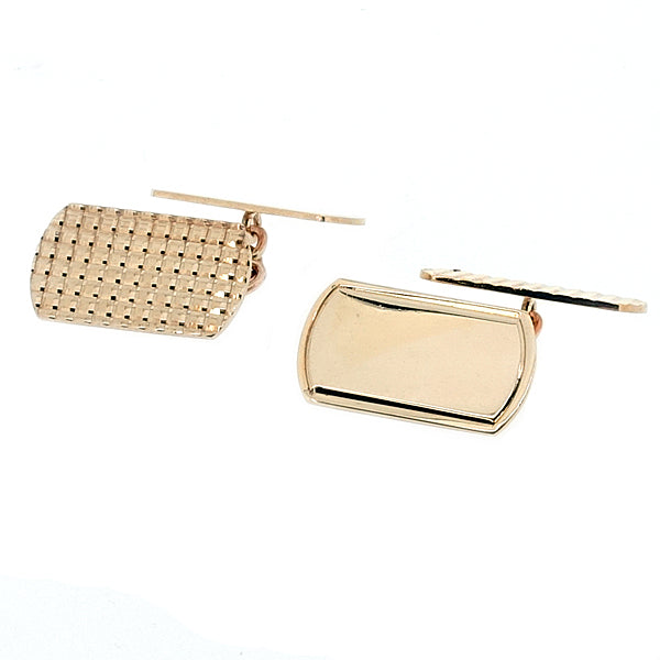 Engine-turned texture cufflinks in 9ct yellow gold