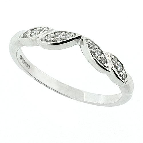 Diamond set marquise detail shaped band in 18ct white gold, 0.08ct