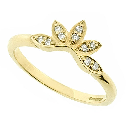 Diamond set petal design shaped band ring in 18ct gold, 0.08ct