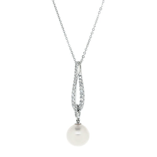 Freshwater pearl and diamond pendant and chain in 18ct white gold, 0.25ct