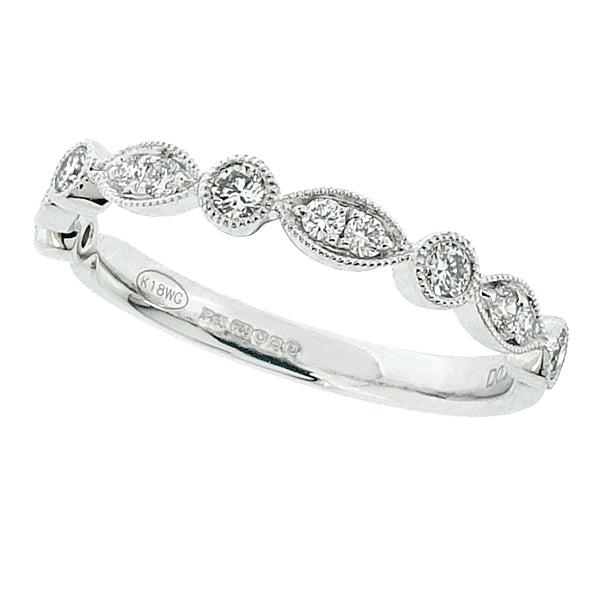 Diamond marquise detail half eternity band in platinum, 0.25ct