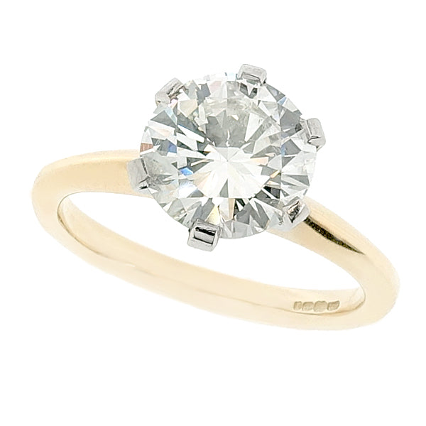 Brilliant cut diamond solitaire ring in 18ct gold, 1.92ct
