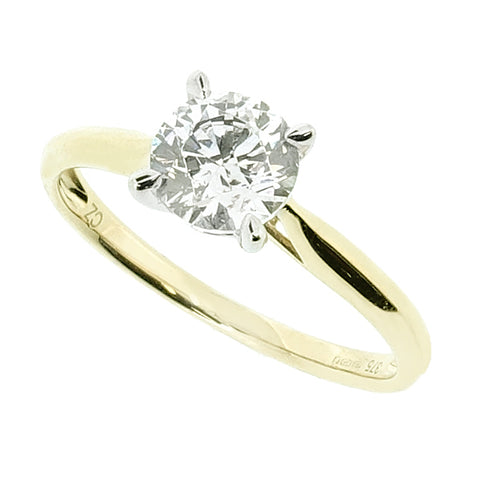 Cubic zirconia solitaire ring in 9ct yellow gold