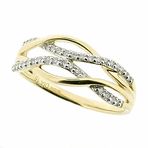 Diamond wave dress ring in 9ct yellow gold