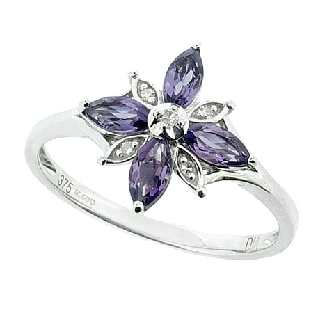 Amethyst and diamond floral dress ring in 9ct white gold