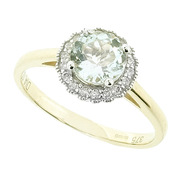 Aquamarine and diamond halo cluster ring in 9ct yellow gold
