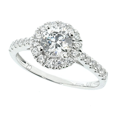 Cubic zirconia halo cluster ring in 9ct white gold