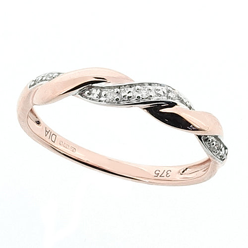 Diamond set twisted band ring in 9ct rose gold