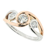 Swirl design diamond dress ring in platinum and 18ct rose gold, 0.68ct