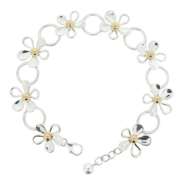 Daisy bracelet in silver with gold plating