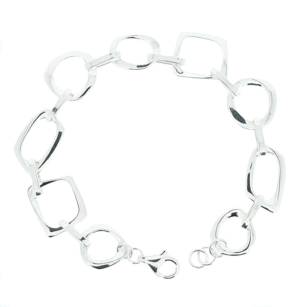 Abstract link bracelet in silver