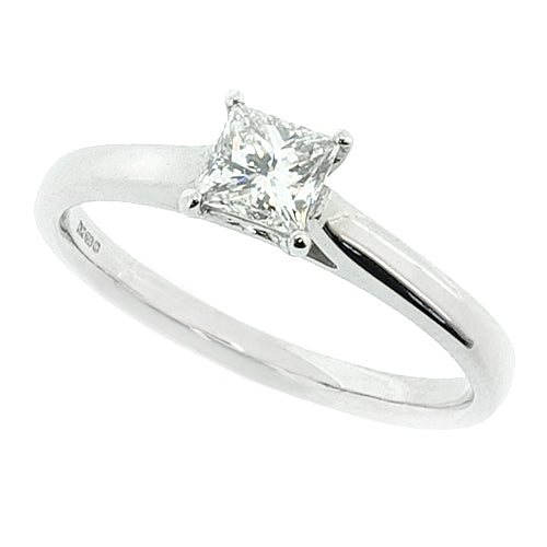 Princess cut diamond solitaire ring in platinum, 0.35ct
