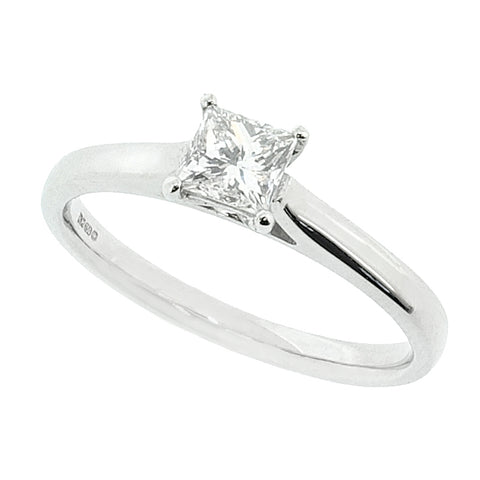 Princess cut diamond solitaire ring in 18ct white gold, 0.41ct