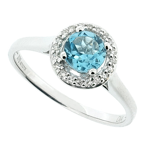 Blue Topaz and diamond halo cluster ring in 9ct white gold