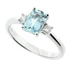 Aquamarine and diamond three stone ring in 18ct white gold