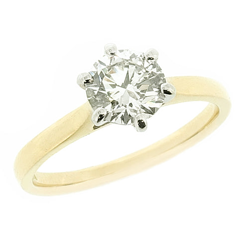 Brilliant cut diamond solitaire ring in 18ct gold, 0.90ct