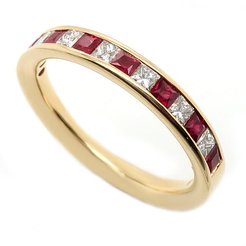 Princess cut ruby and diamond half eternity ring in 18ct gold