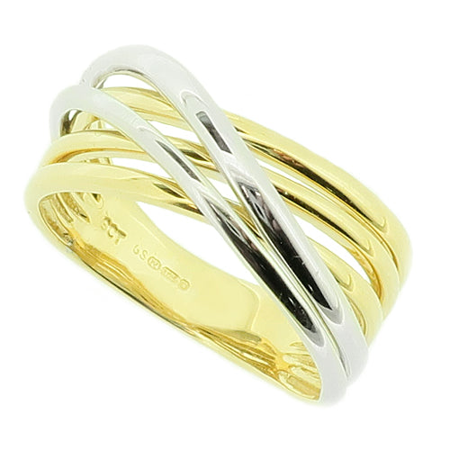 Crossover wave design ring in 9ct yellow and white gold