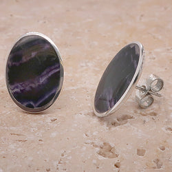 Large oval Blue John earrings in silver