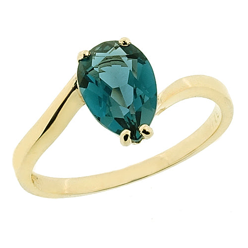 London Blue Topaz solitaire ring in 9ct gold