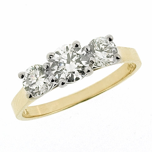 Cubic zirconia three stone ring in 9ct yellow gold