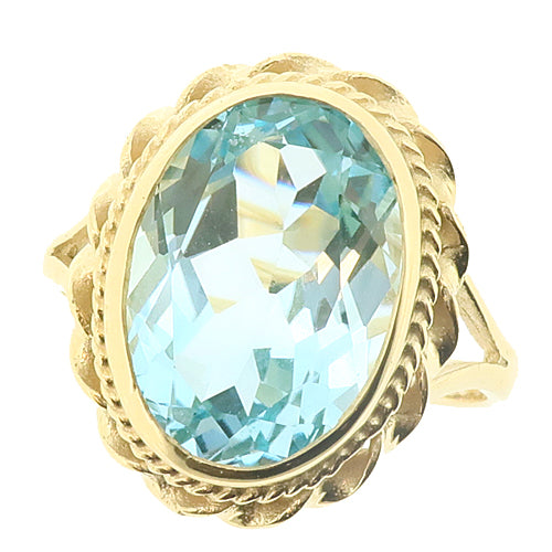 Blue topaz rope detail dress ring in 9ct gold