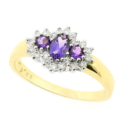Amethyst and cubic zirconia cluster ring in 9ct gold