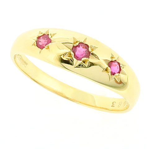 Ruby three stone dress ring in 9ct gold