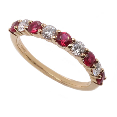 Ruby and diamond half eternity band in 18ct gold