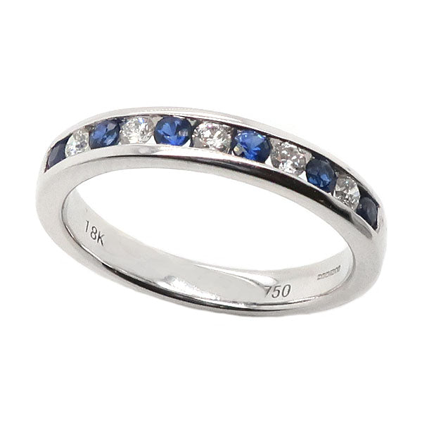 Sapphire and diamond channel set half eternity ring in 18ct white gold