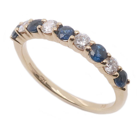 Sapphire and diamond half eternity ring in 18ct gold
