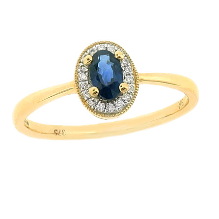 Sapphire and diamond cluster ring in 9ct gold