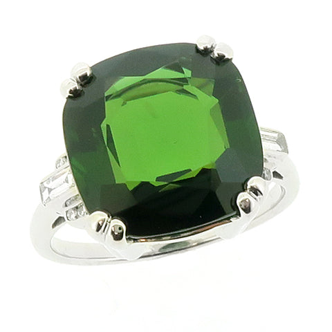 Green tourmaline and diamond ring in platinum