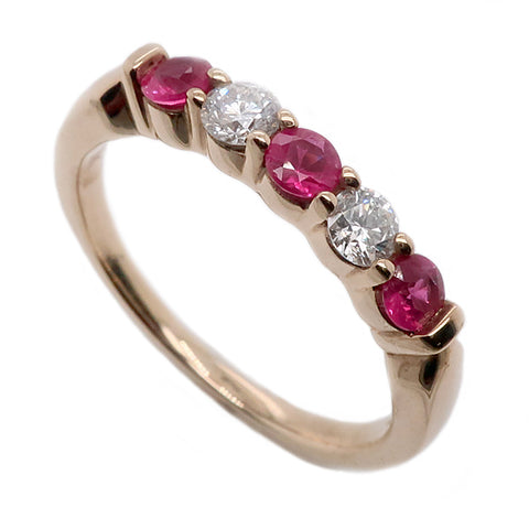 Ruby and diamond five stone ring in 9ct gold