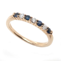Sapphire and diamond half eternity ring in 9ct gold