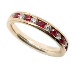 Ruby and diamond half eternity ring in 9ct gold