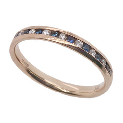 Sapphire and diamond channel set half eternity ring in 9ct gold