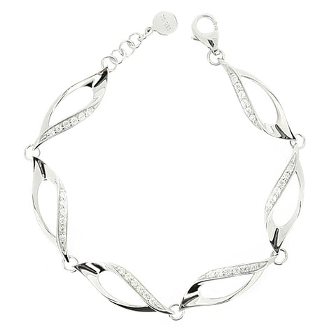Cubic zirconia twist design bracelet in silver
